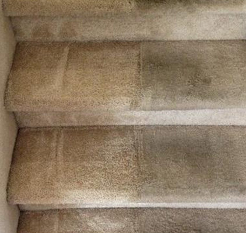 stairs with half cleaned and half dirty carpet