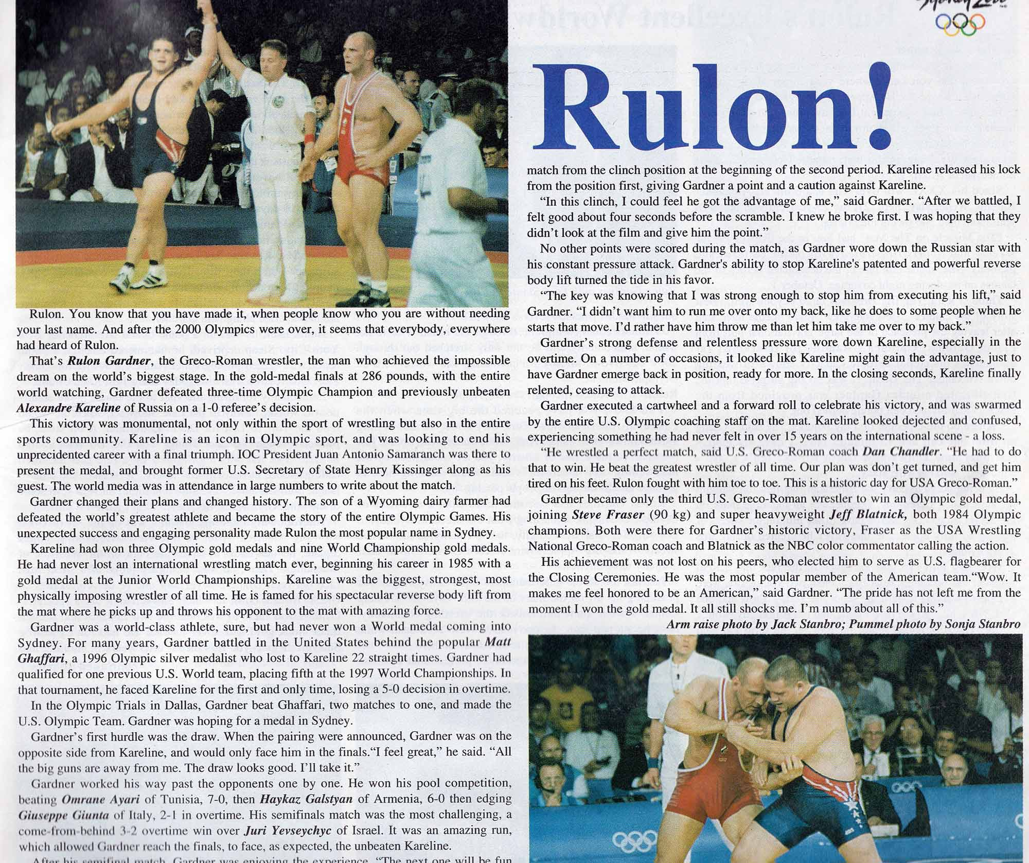 News article on Rulon's wrestling victory