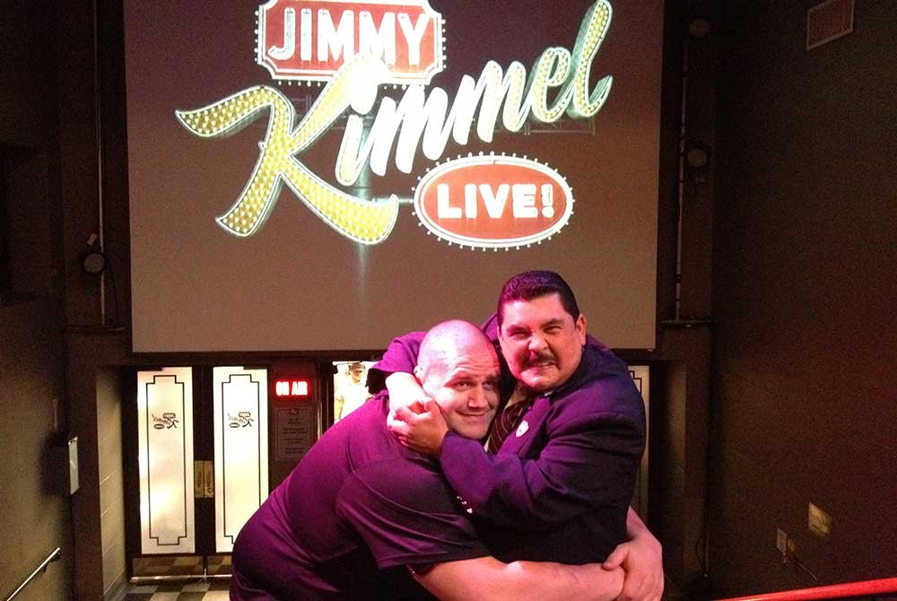 Rulon posing with man at Jimmy Kimmel's set