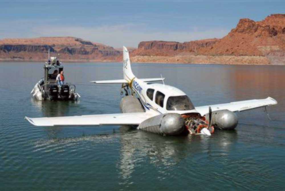 Plane crashed on lake