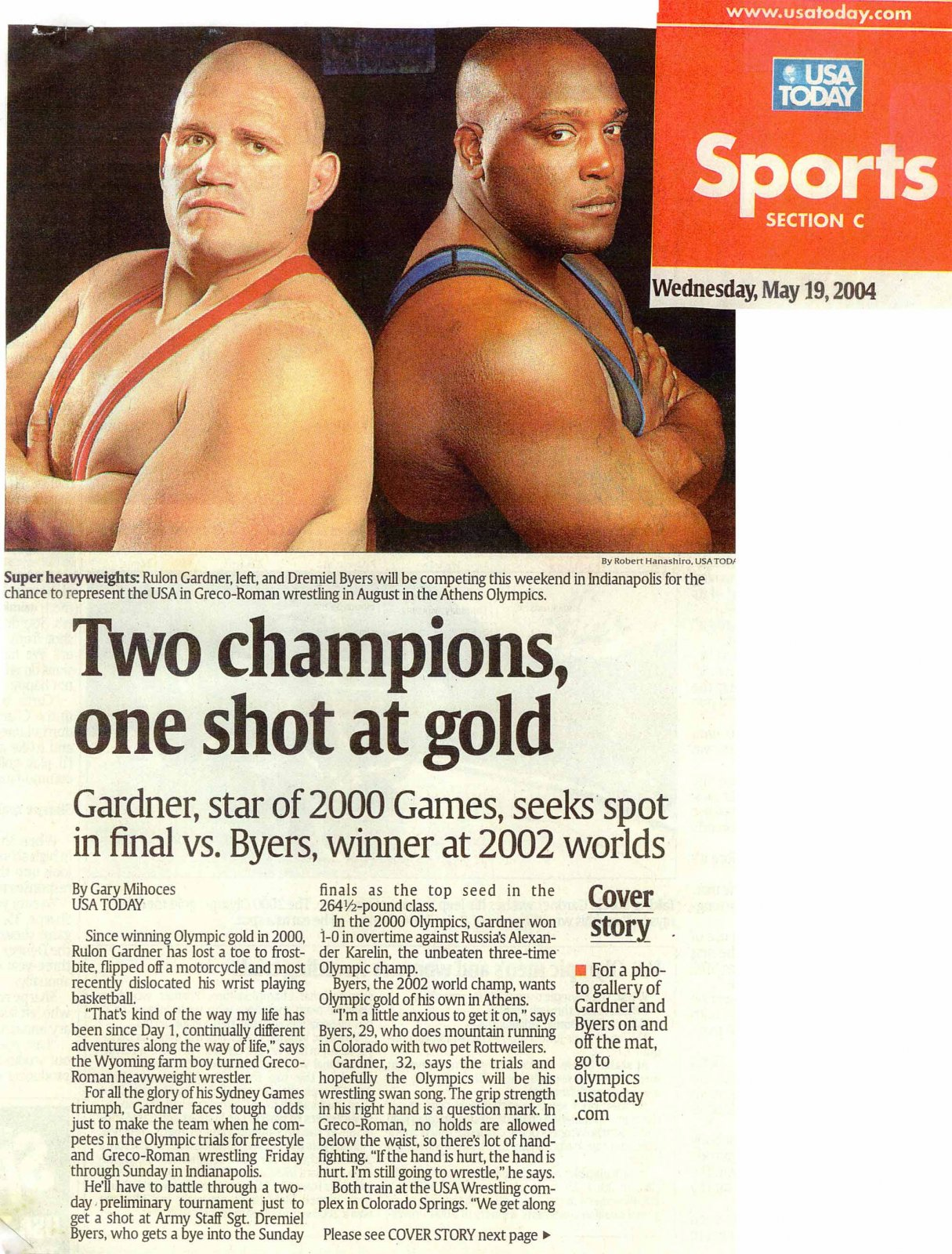 Rulon and opponent on cover of USA Today magazine