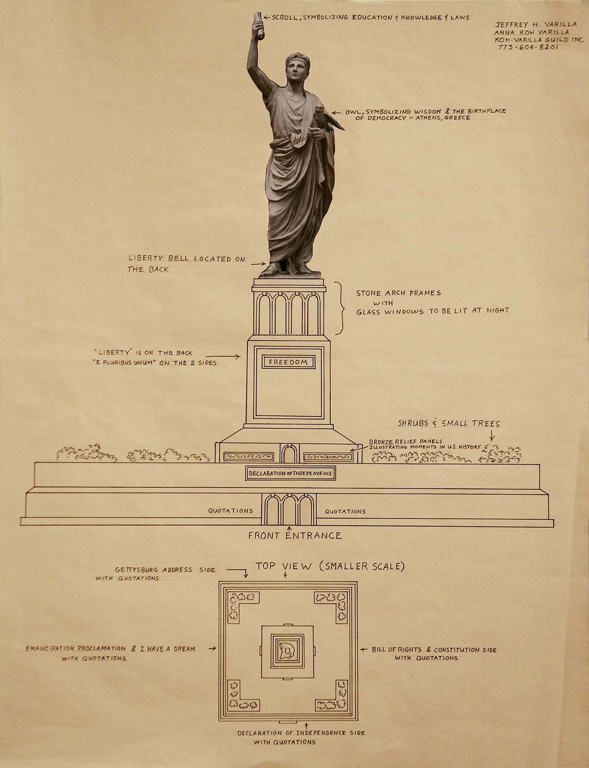Diagram of Statue of Freedom with writings about statue features