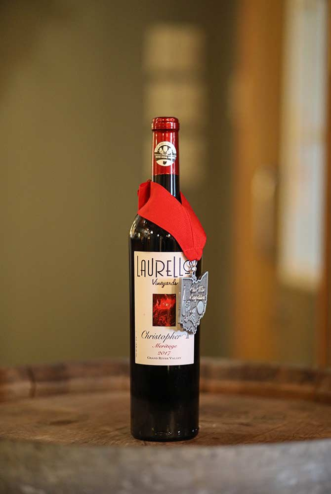 Laurello Christopher Meritage wine bottle with medal