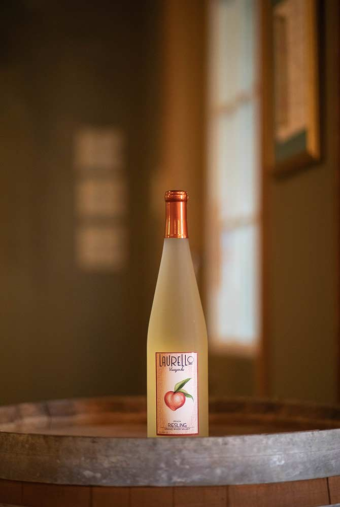 Laurello Peach Riesling Wine Bottle
