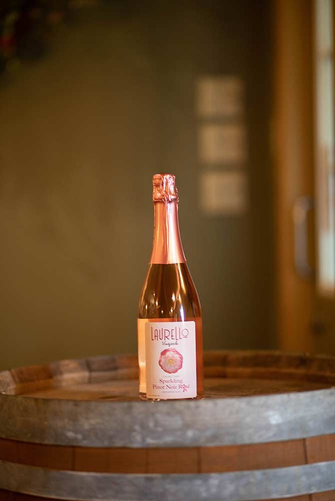 Sparkling Pinot Noir Rose wine bottle with medal