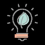 Lightbulb with leaf inside icon