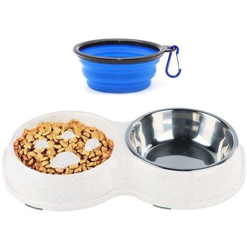 Douple slow feeder dog bowls