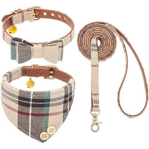 Plaid collar and leash set