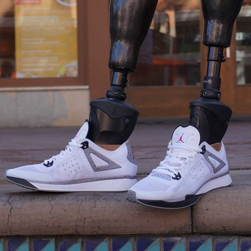 Prosthetic legs wearing Air Jordan's