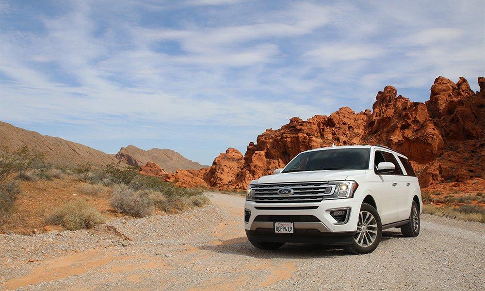white car in desert