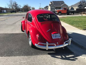 restored Volkswagen beetle back