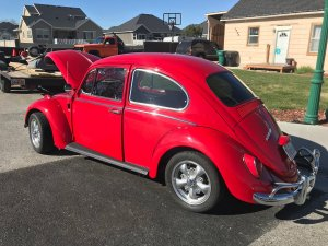 restored Volkswagen beetle side