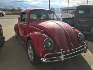 Volkswagen beetle before restoration front