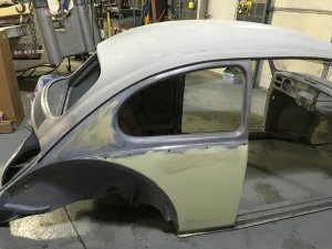 Volkswagen beetle frame before being painted