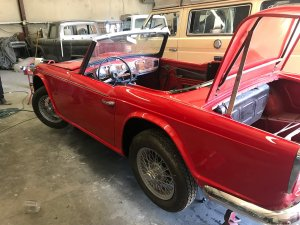 restored Triumph TR4 side