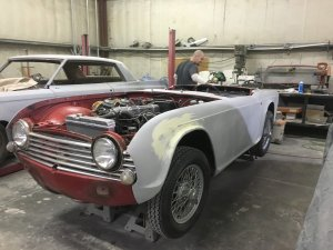 Triumph TR4 body before being painted