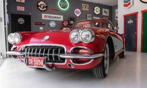 Red classic car in garage