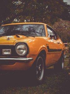 Yellow classic car