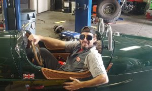 Mechanic sitting in a Car