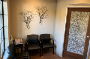 Waiting room with chairs and wall decoration