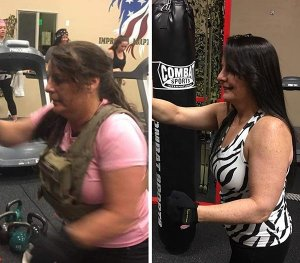 woman working out before and after losing weight