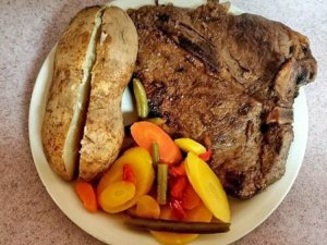 Steak, Vegetables, and a Baked Potato