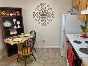 Dining area and kitchen stove