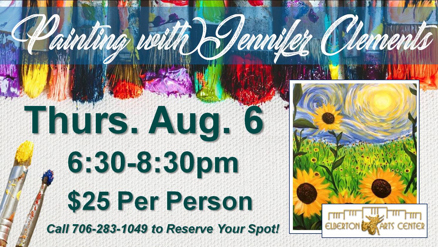 Painting with Jennifer Thurs Aug 6