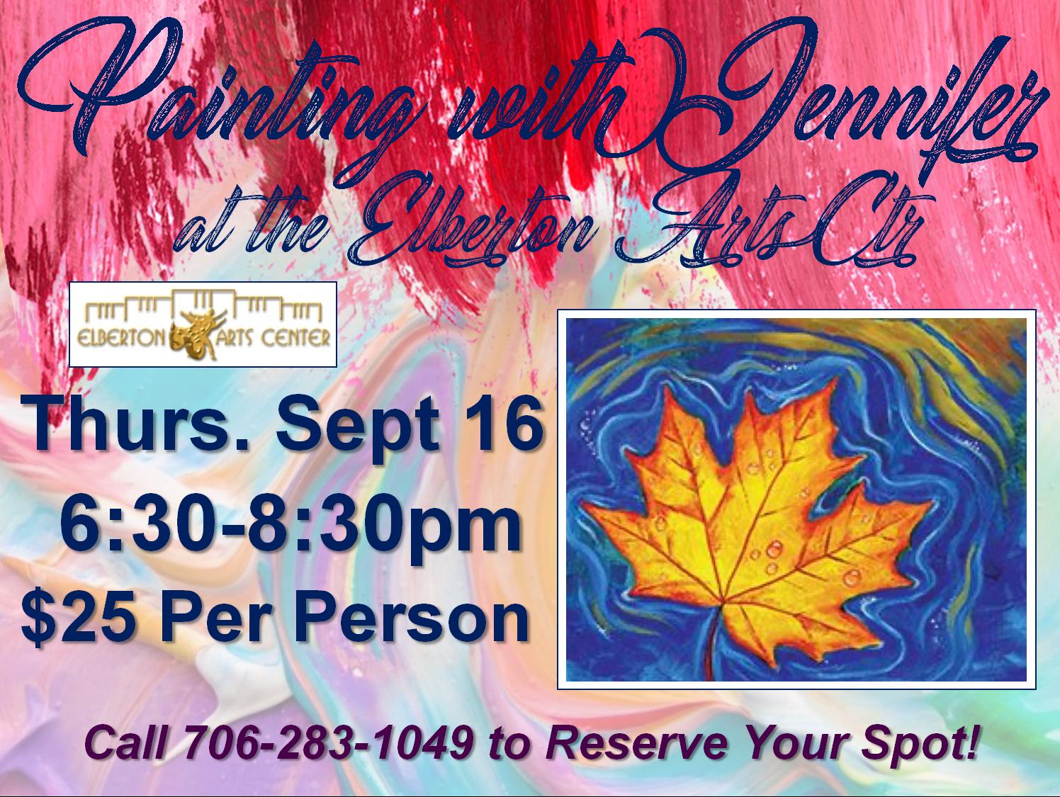Painting with Jennifer Thurs Sept 16