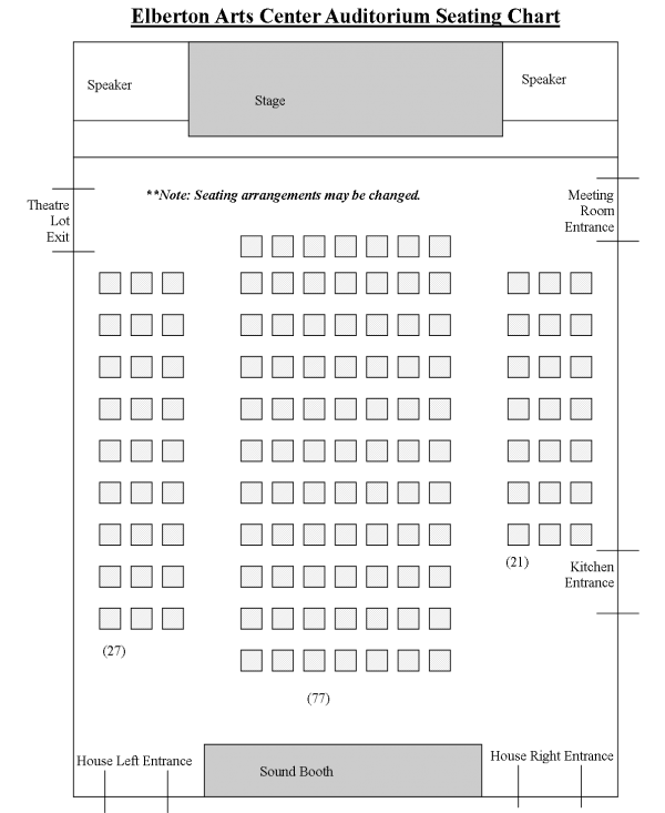 Elberton Arts Center Seating Chart - Chairs Only