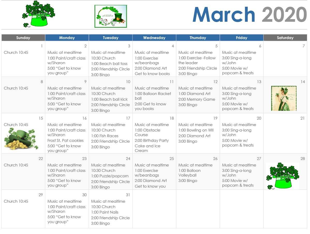 March Calendar of Activities