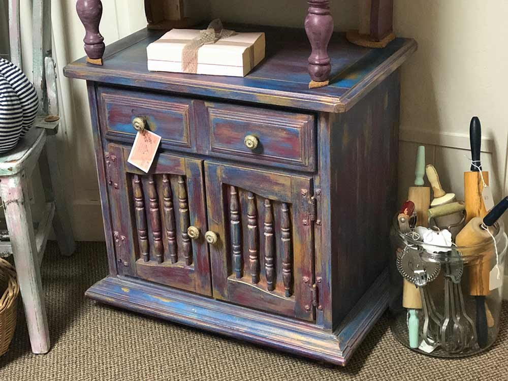 purple and teal hombre painted dresser