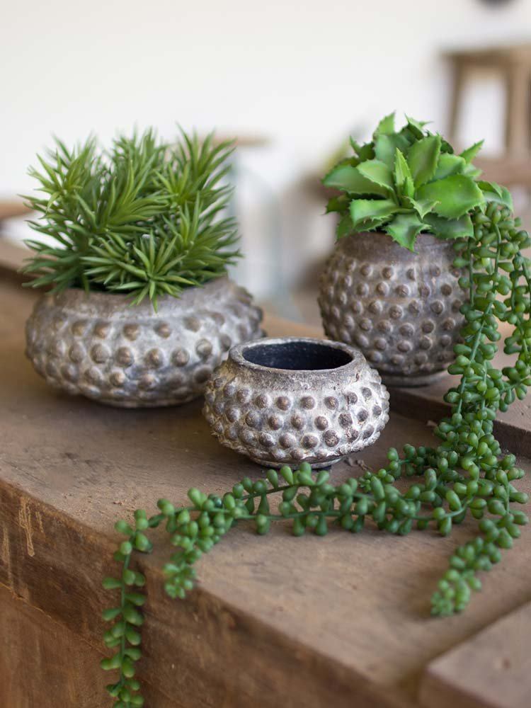 Three Dotted Ceramic Vases