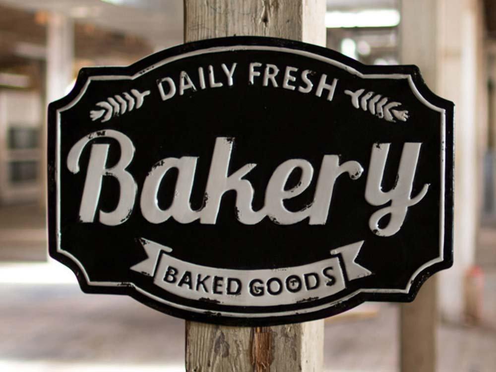 Embossed Metal Bakery Sign