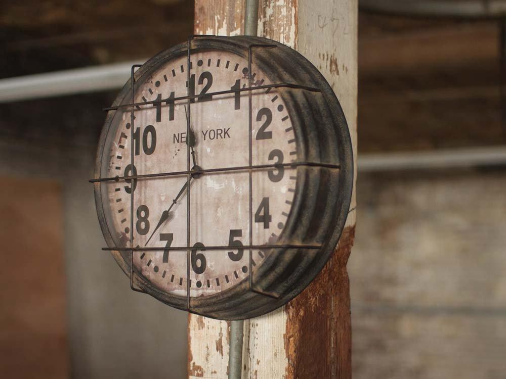 Metal Caged Subway Clock