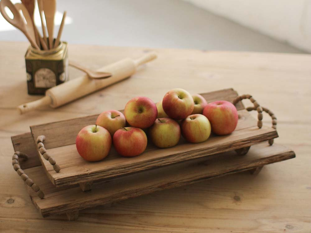 beaded wooden tray with apples