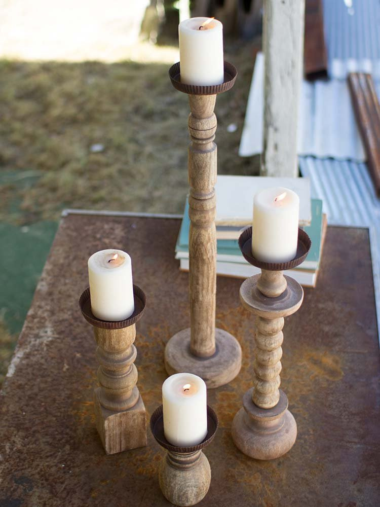 Repurposed banister candlesticks