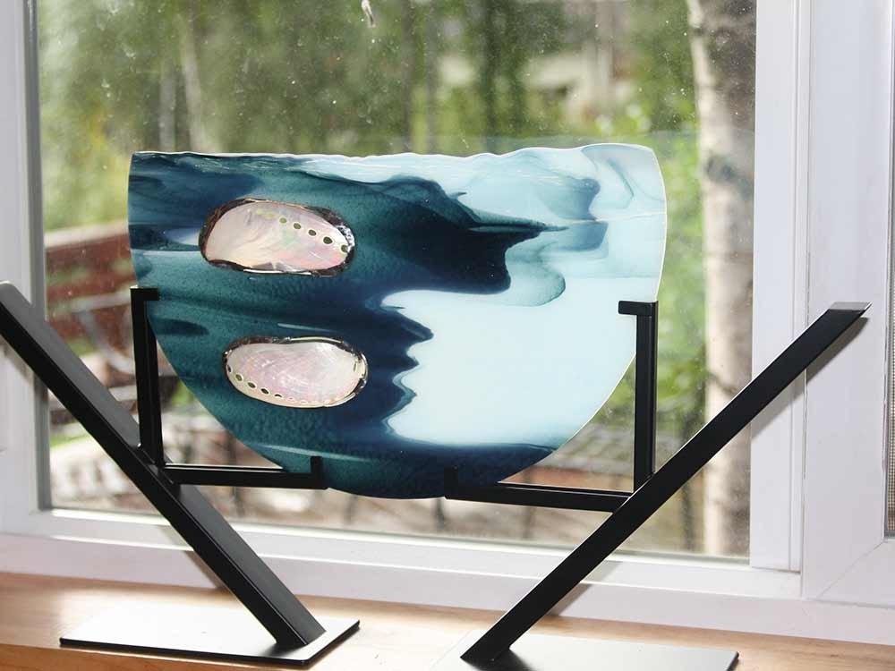 Glass Art in front of Window