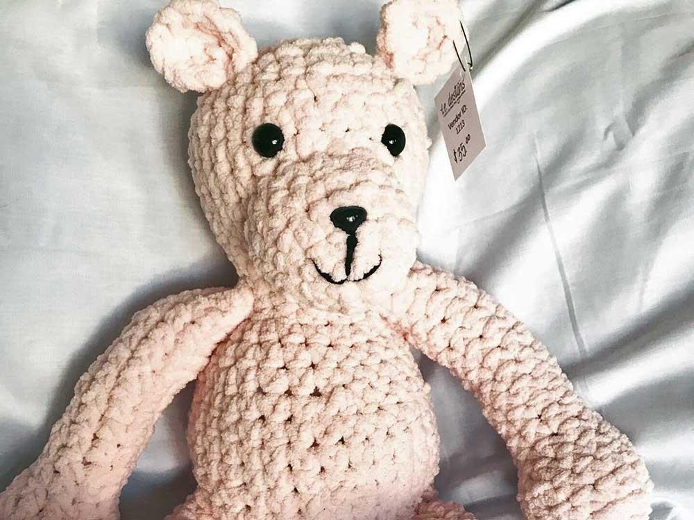 large beige crocheted bear
