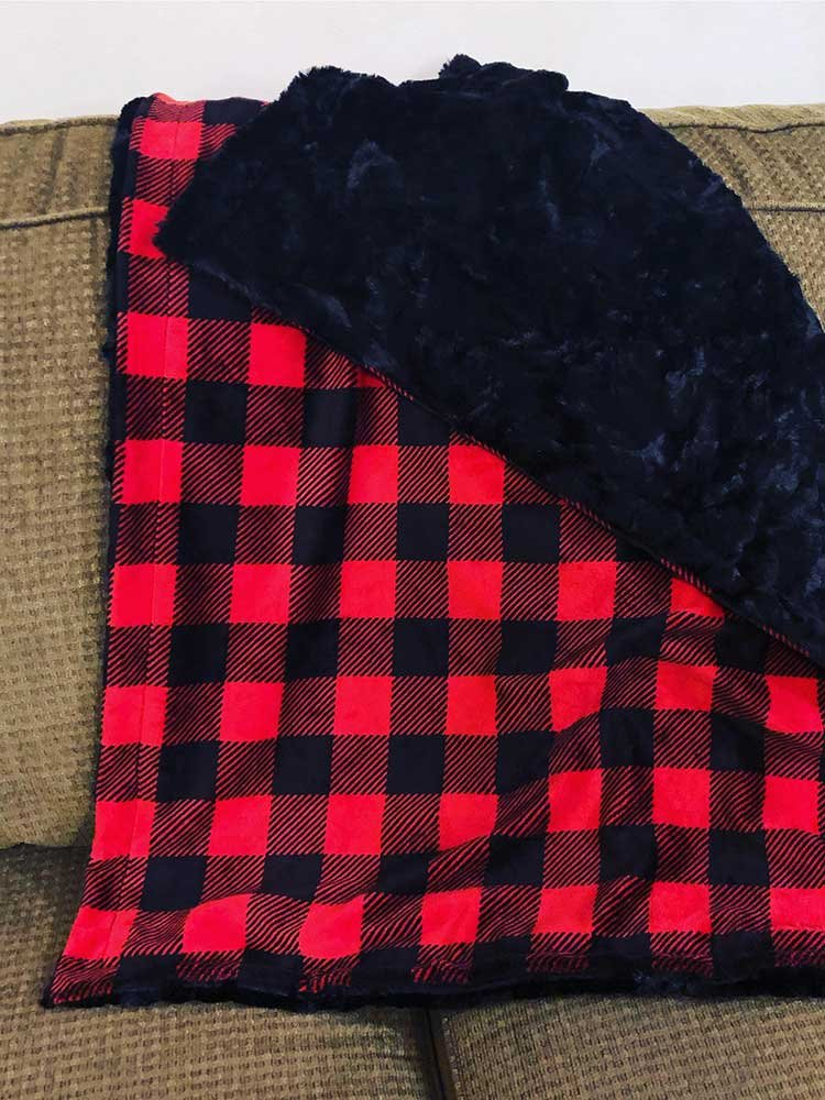 navy and red buffalo plaid blanket