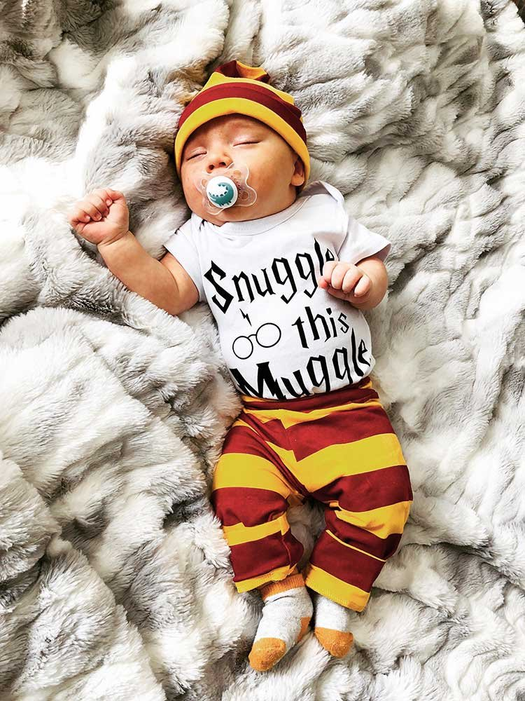 adorable baby wearing harry potter clothing