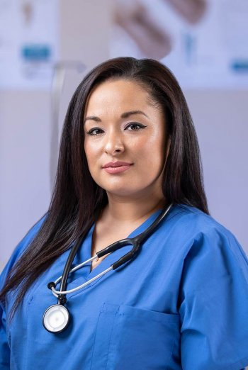 Beatrice Tabarez wearing scrubs