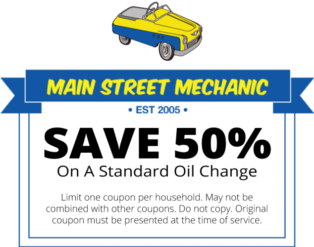 Main Street Mechanic Coupon for 50% off a standard oil change
