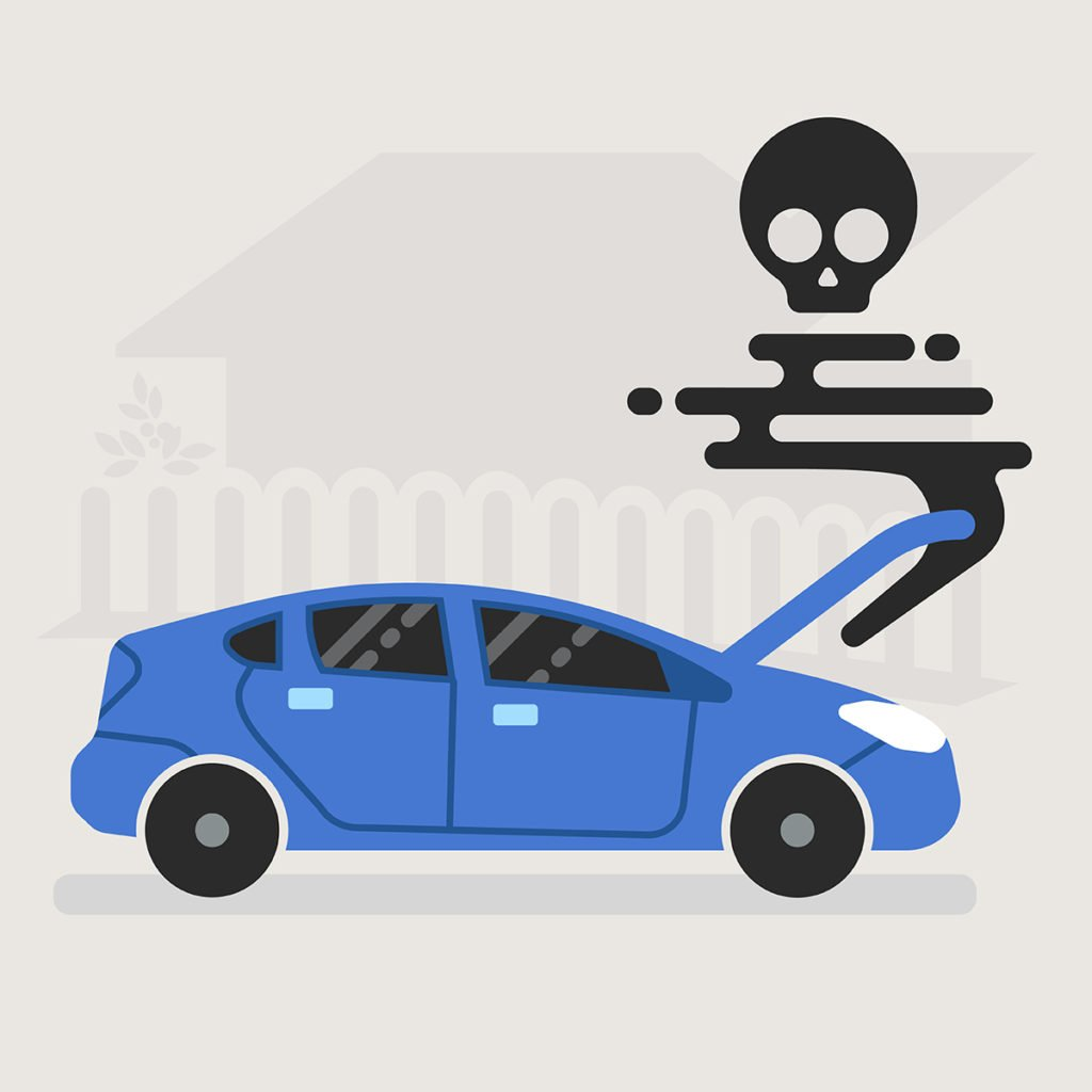 car with skull smoke