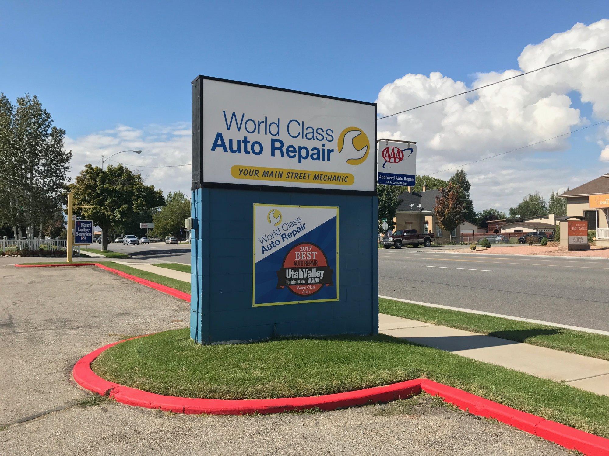 World Class Auto Repair Sign