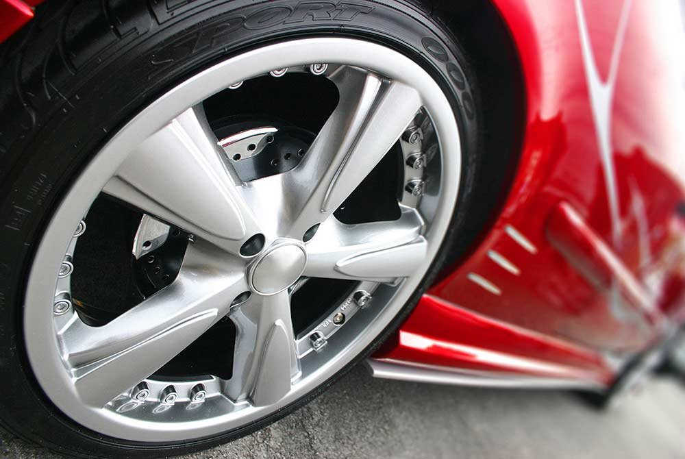 expensive tires on a luxury vehicle