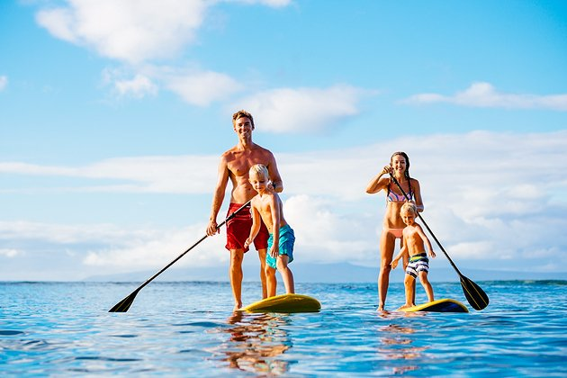 Family Paddle-boarding together